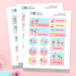 Sweet Flamingo Waterproof Labels Variety Pack
