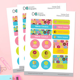 Yummy Donuts Waterproof Labels Variety Pack (Set of 56)