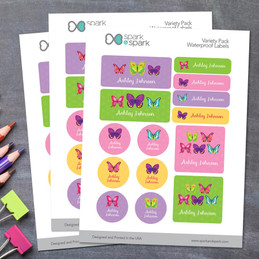 Bright Butterflies Waterproof Labels Variety Pack (Set of 56)