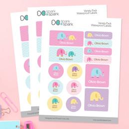 Sweet Elephants Waterproof Labels Variety Pack (Set of 56)