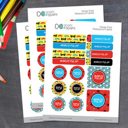 Super Hero Pattern Waterproof Labels Variety Pack (Set of 56)