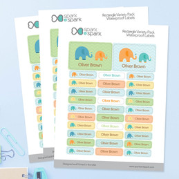 Sweet Elephants Boy Labels Rectangular Pack (Set of 128)