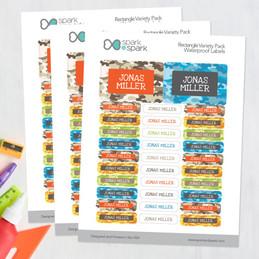Fun Camouflage Labels Rectangular Pack (Set of 128)