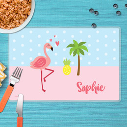 Sweet Flamingo Love Kids Placemat