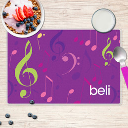 Girly Music Notes Kids Placemat