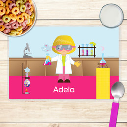 Cute Scientist Girl Kids Placemat