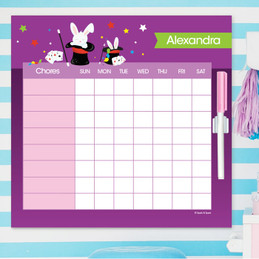 Cute Girl Magician Toddler Chore Chart