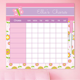 Pink Flowers Pattern Chore Schedule