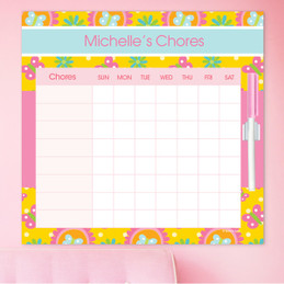 Yellow Flowers Pattern Customizable Chore Chart