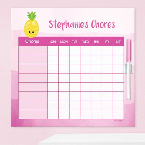 Yummy Pineapple Chore Calendar