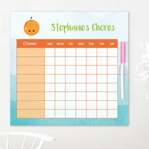 Yummy Orange Childrens Chore Chart