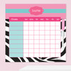 Zebra And Pink Customizable Chore Chart
