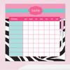 Zebra And Pink Customizable Chore Chart
