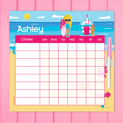 Beach Girl Blonde Weekly Chore Chart