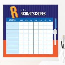 Double Initial Blue Customizable Chore Chart