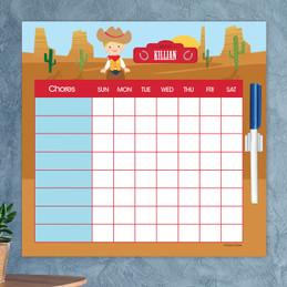 Cowboy Blonde Chore Chart For Kids