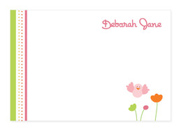 Birdie And Flowers Notecards