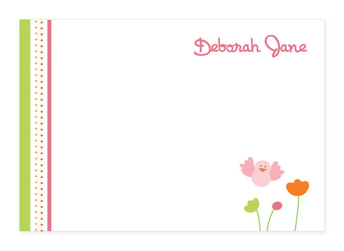 Beautiful Stationery Note Cards Personalized | Birdie And Flowers