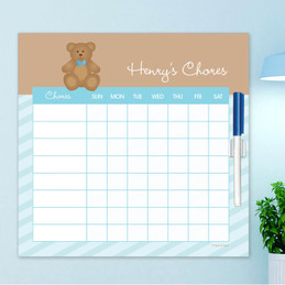 Cute Blue Teddy Bear Chore List For Kids