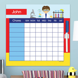 Cool Scientist Boy Blonde Chore Calendar