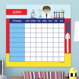 Cool Scientist Boy Blonde Chore Calendar