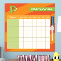 Brilliant initial Orange Chore Chart