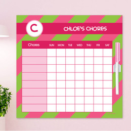 Fun initials Pink Chore Chart