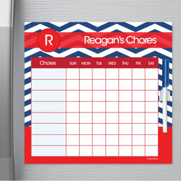 Chevron - Navy & Red Chore Chart