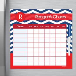 Chevron Navy And Red Chore Chart