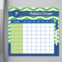 Chevron Green And Blue Chore Chart