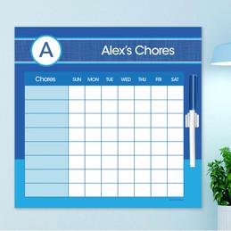 A Linen Blue Letter Chore Chart