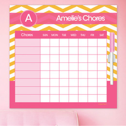 Chevron Mustard and Pink Chore Chart