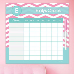 Chevron Pink And Aqua Chore Chart