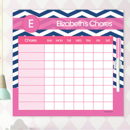 Chevron - Blue & Pink Chore Chart