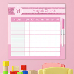 A Shiny Pink Letter Chore Chart
