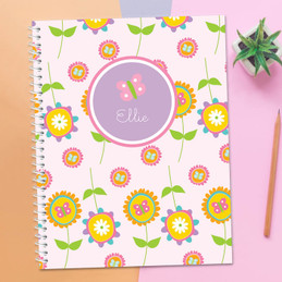 Pink Flowers Pattern Kids Notebook