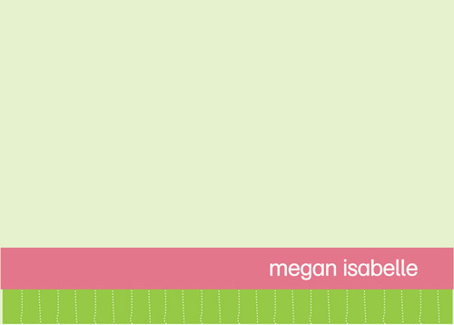 Check Out Our Kids Personalized Stationery Cards | Pink And Green Borders