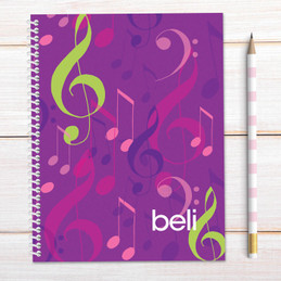 Girly Music Notes Kids Notebook