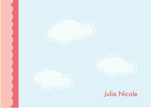Modern Personalized Stationery   Dreamy Clouds Pink