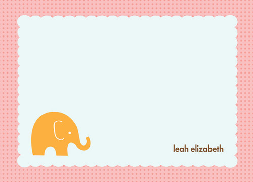 Fantastic Personalized Note Cards   My Little Elephant Pink