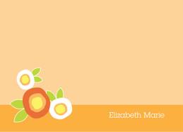 Cute Personalized Flat Note Cards   Modern Flowers Orange