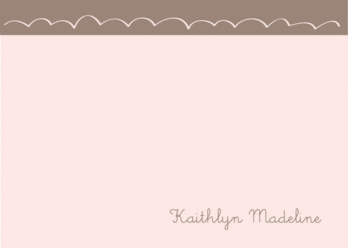 Modern Personalized Stationery Note Cards | Cute Bunny Light Chocolate
