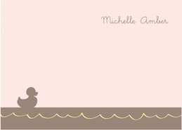 Little Duckie Swimming Pink Notecards