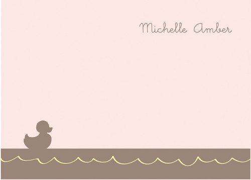 Fantastic 4 By 6 Notecard | Little Duckie Swimming Pink