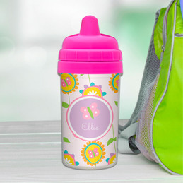 Girl Sippy Cups with Pink Flowers Pattern