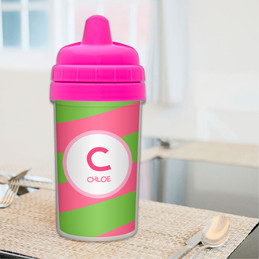 Fun Initials - Pink Sippy Cup