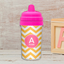 Chevron - Mustard & Pink  Sippy Cup