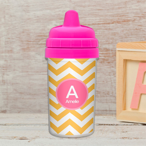 Chevron - Mustard & Pink Infant Sippy Cup