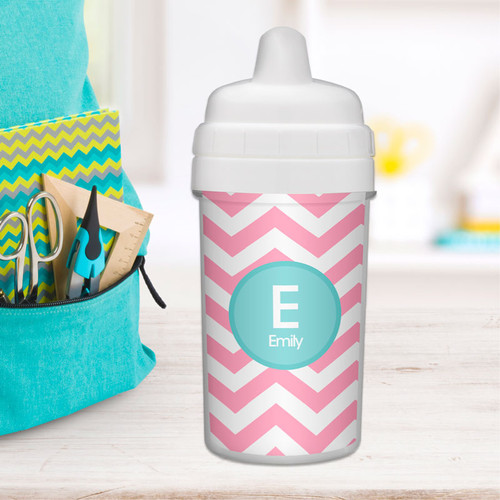 Chevron Pink & Aqua Best Sippy Cup for Milk