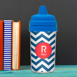 Chevron - Navy & Red Sippy Cup
